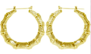 goldtone bamboo hoops
